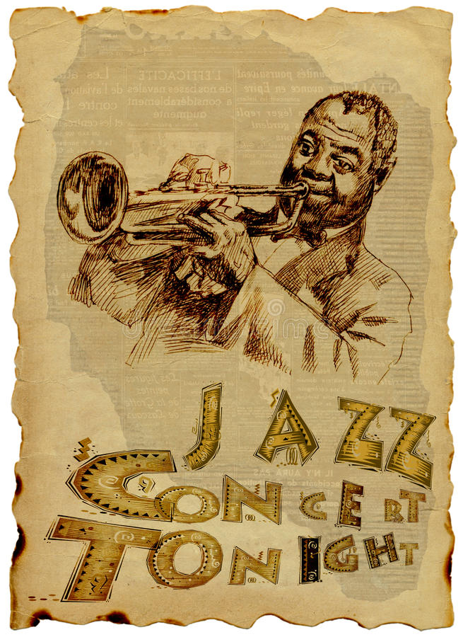 Jazz Man with the trumpet vector illustration