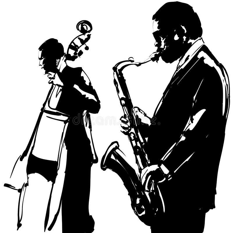 Jazz med saxofonen och kontrabasen stock illustrationer