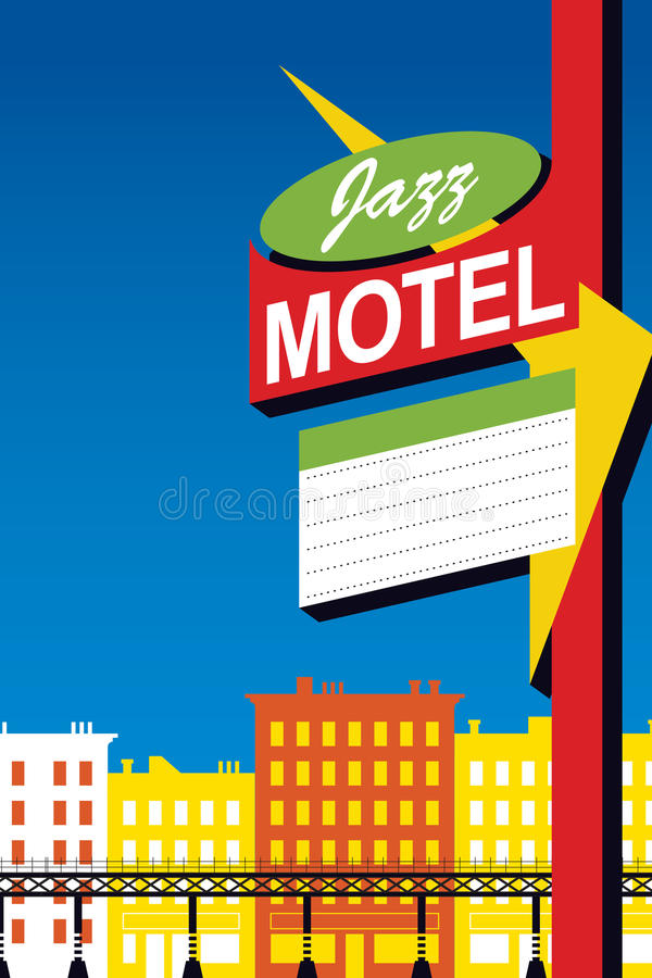 Jazz Motel Neon Sign. Hot jazz, cool jazz, the band plays on! This retro-modern jazz motel sign is useful in a variety of applications - a full page ad, magazine royalty free illustration