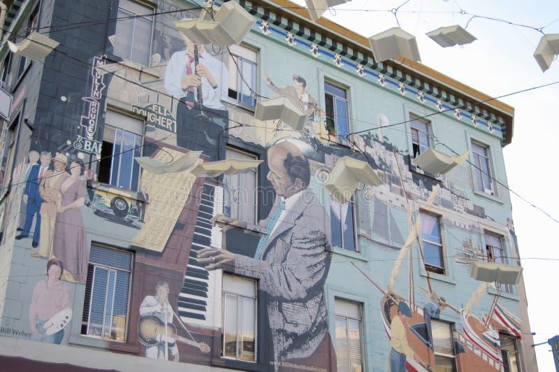 Jazz Mural van Bill Weber in San Francisco stock foto