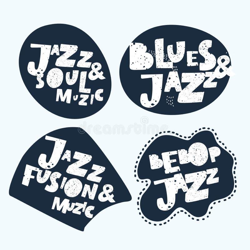 Jazz Music aufkleber Moderne Kalligraphie-Handbeschriftung für Siebdruck-Drucken lizenzfreie abbildung