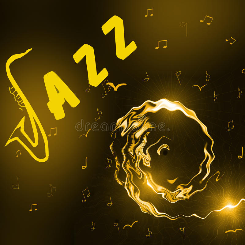 Jazz Music background. With header, silhouette of saxophone, notes and stylised girl face - abstract illustration vector illustration