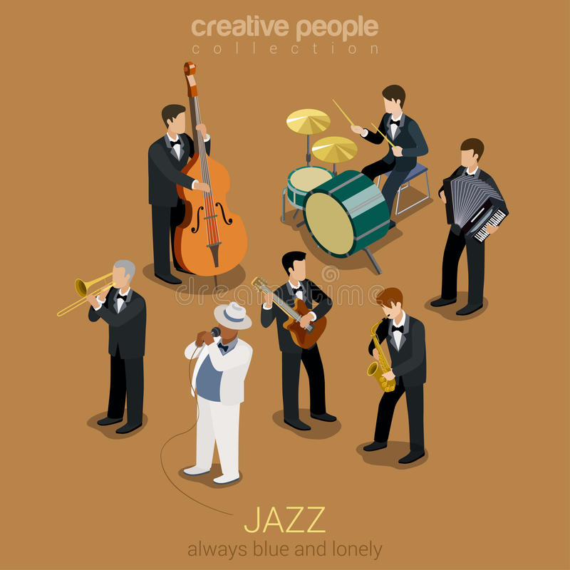 Jazz music band isometric concept. Jazz music band flat 3d web isometric infographic concept vector. Group of creative young people playing on instruments blues vector illustration