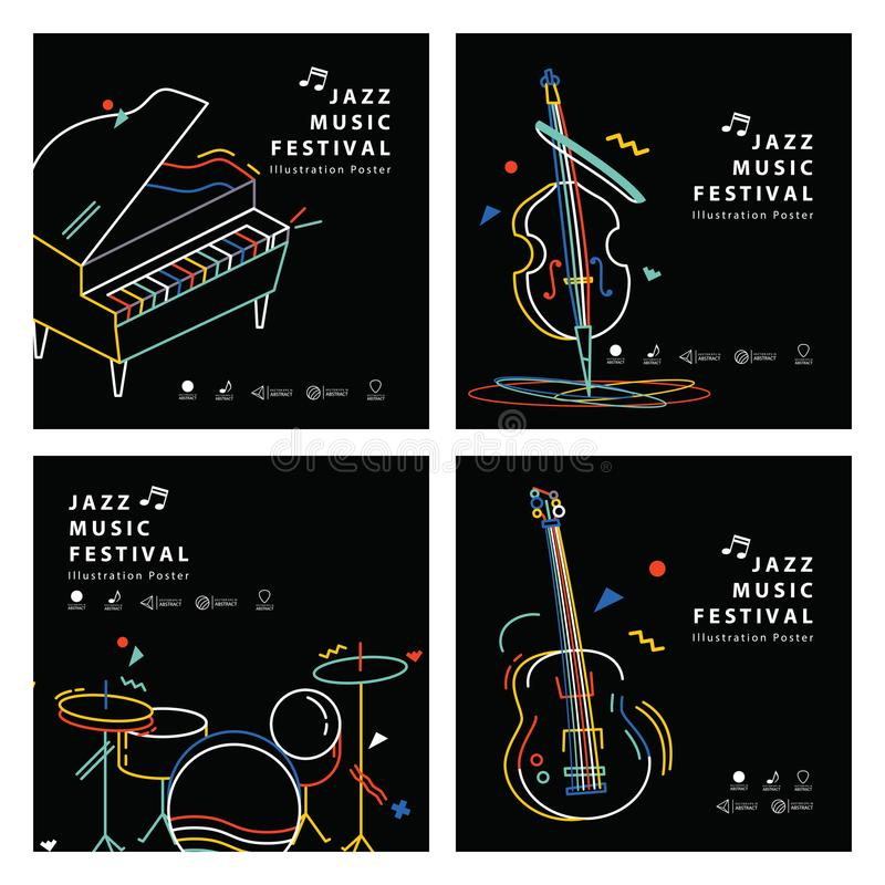 Jazz music banner poster square 4 musical instrument stock illustration