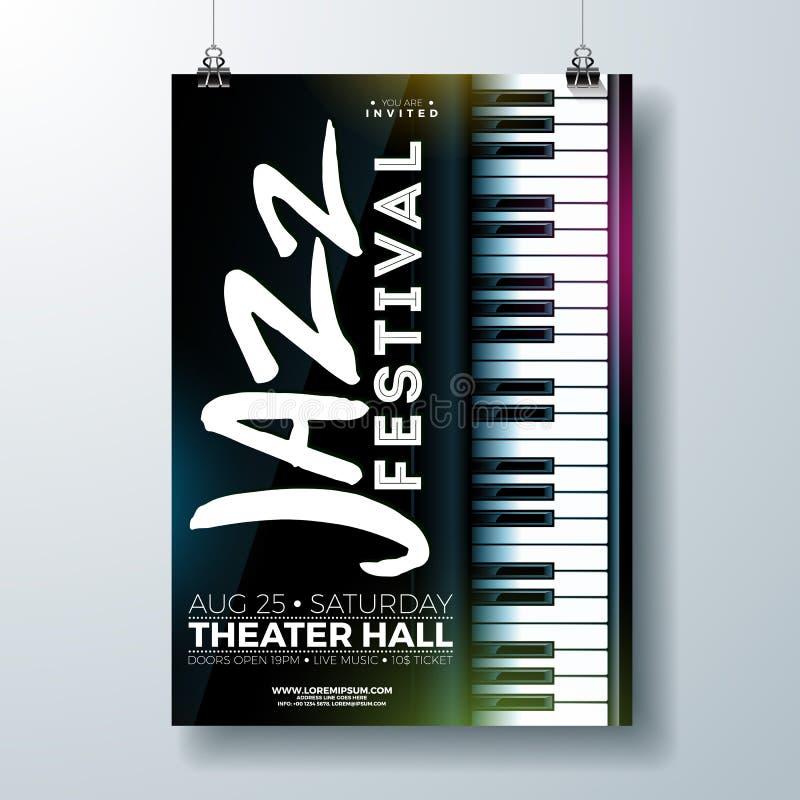 Jazz Music Festival Flyer Design con el teclado de piano en fondo oscuro Plantilla del ejemplo del partido del vector para stock de ilustración