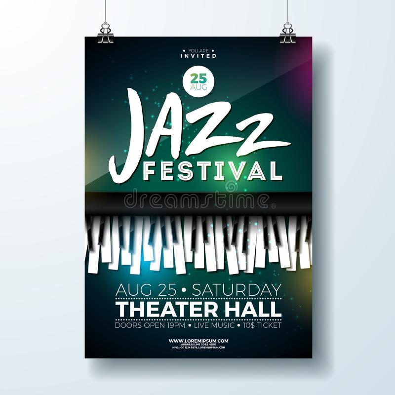 Jazz Music Festival Flyer Design mit Klavier-Tastatur auf dunklem Hintergrund Vektor-Partei-Illustrations-Schablone für stock abbildung