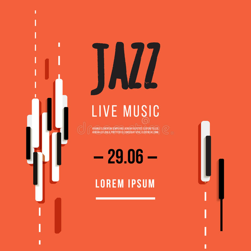 Jazz music festival, poster background template. Keyboard with music keys. Flyer Vector design vector illustration