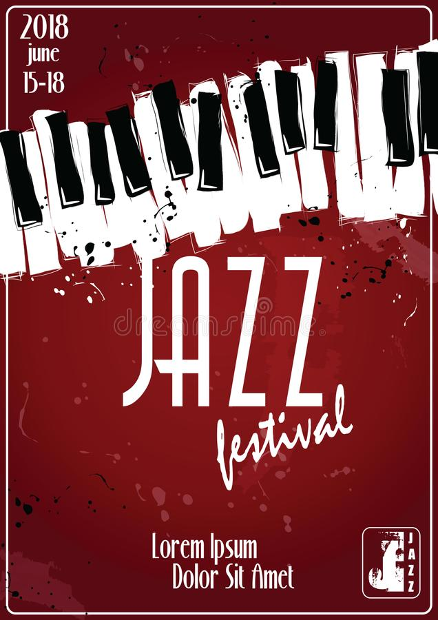 Jazz music festival, poster background template. Keyboard with music notes. Flyer Vector design. stock illustration