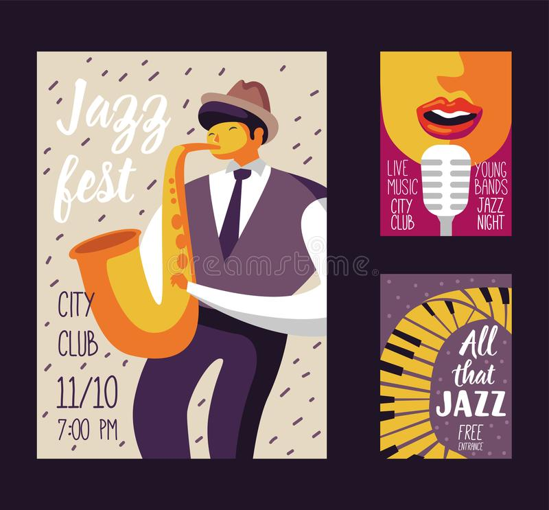 Jazz Music Festival Poster Template, Flyer, Placard. Musical Concert Event Banner with Musician and Singer royalty free illustration