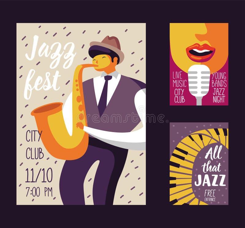 Jazz Music Festival Poster Template, insecte, plaquette Bannière musicale d'événement de concert avec le musicien et le chanteur illustration libre de droits