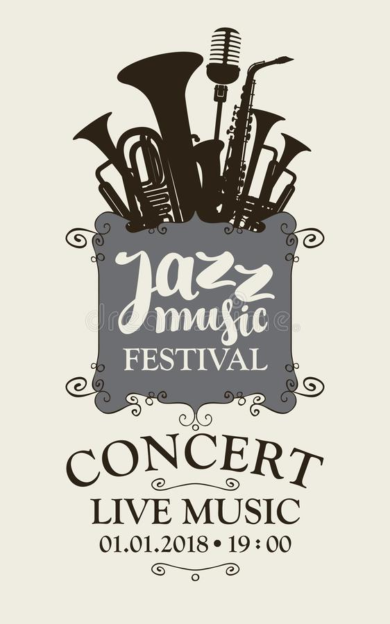Jazz music festival poster with wind instruments stock illustration