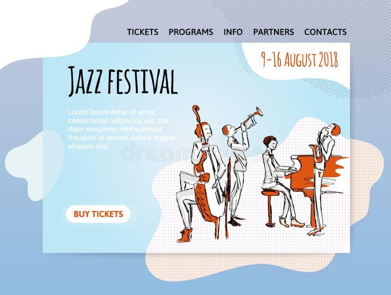 Jazz music festival, quartet in concert. Vector illutration, design template of music site, header, banner or poster. Jazz music festival, quartet in concert vector illustration