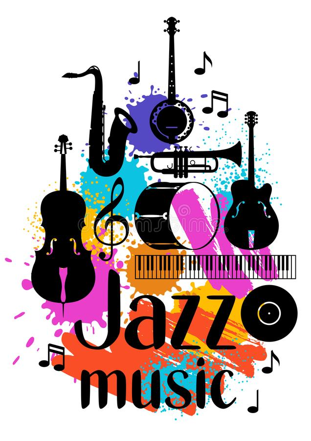 Jazz music grunge poster with musical instruments royalty free illustration