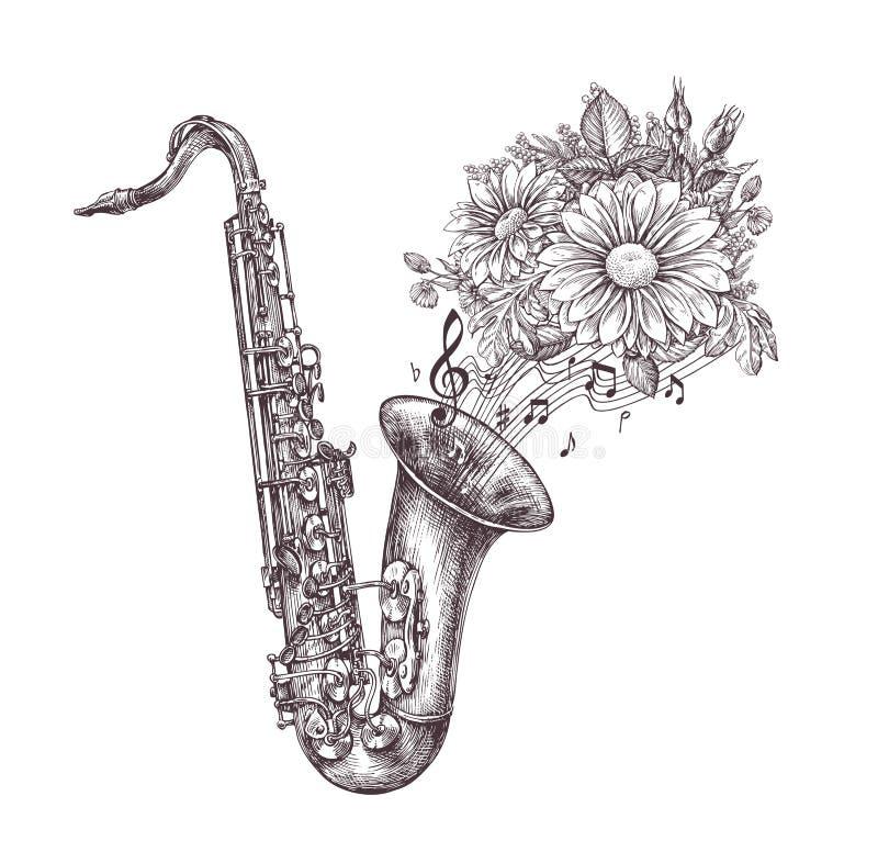Jazz Music Hand-drawn schets een saxofoon, een saxofoon en bloemen Vector illustratie vector illustratie