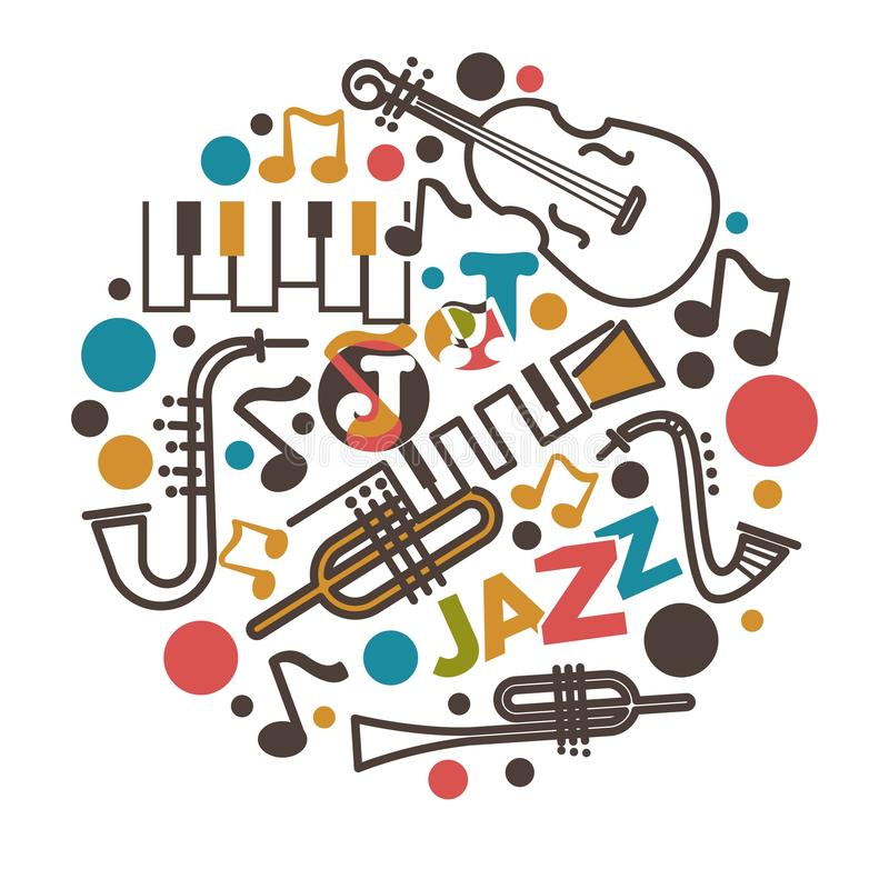 Jazz music isolated emblem musical instruments and notes. Musical instruments and notes jazz music isolated emblem vector piano and cello saxophone and trumpet vector illustration