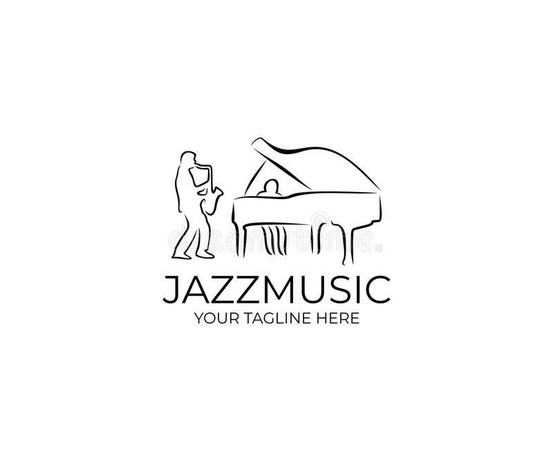 Jazz Music Logo Template Sassofonista e pianista Vector Design illustrazione vettoriale