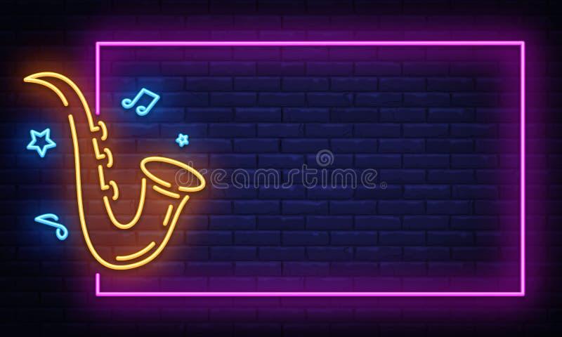 Jazz Music Neon Signboard nel vettore della struttura Insegna al neon di musica in diretta, modello di progettazione, progettazio illustrazione vettoriale