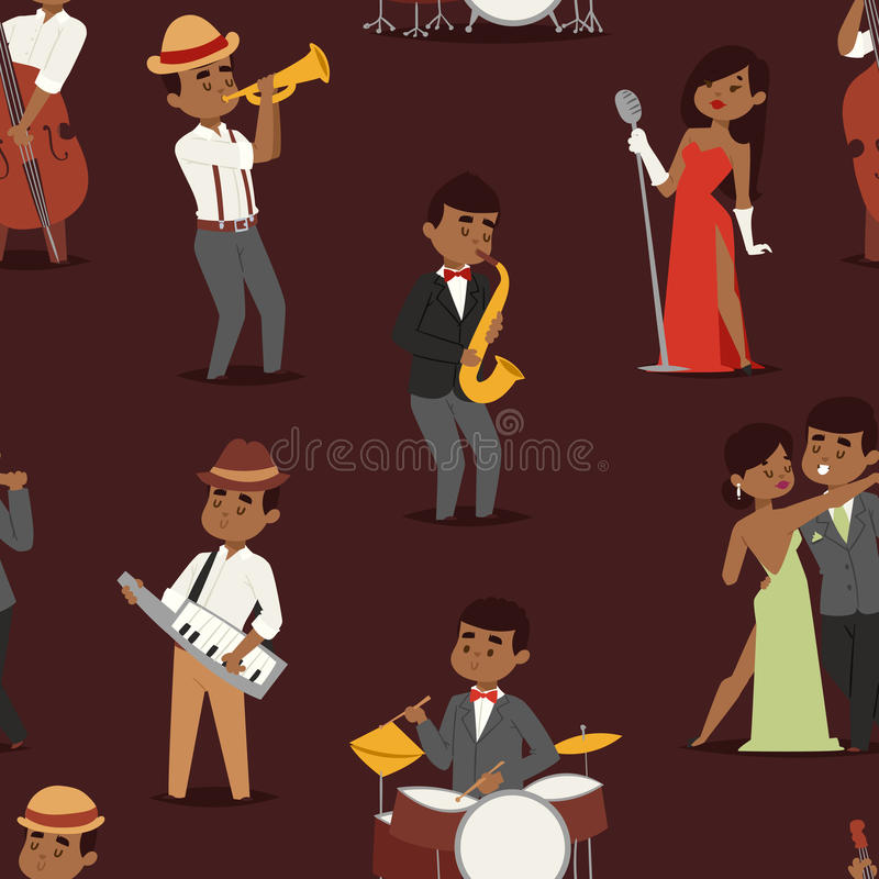 Jazz music seamless pattern group of creative young people playing on instruments vector illustration vector illustration