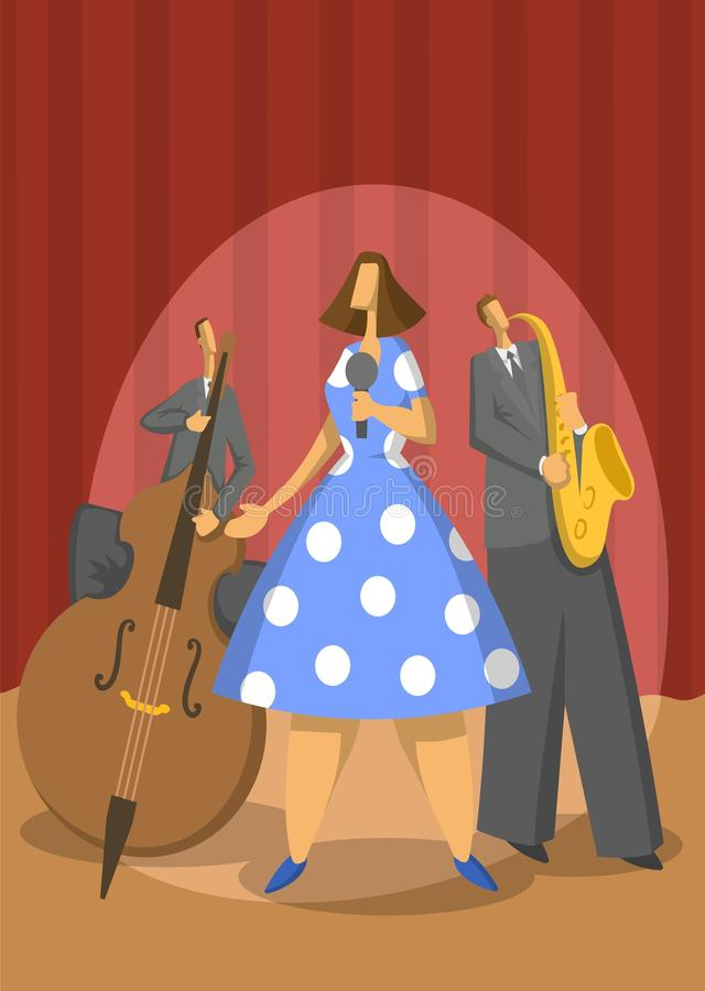 Jazz music trio. Contrabassist, saxophonist and singer. Abstract Vector illustration. vector illustration