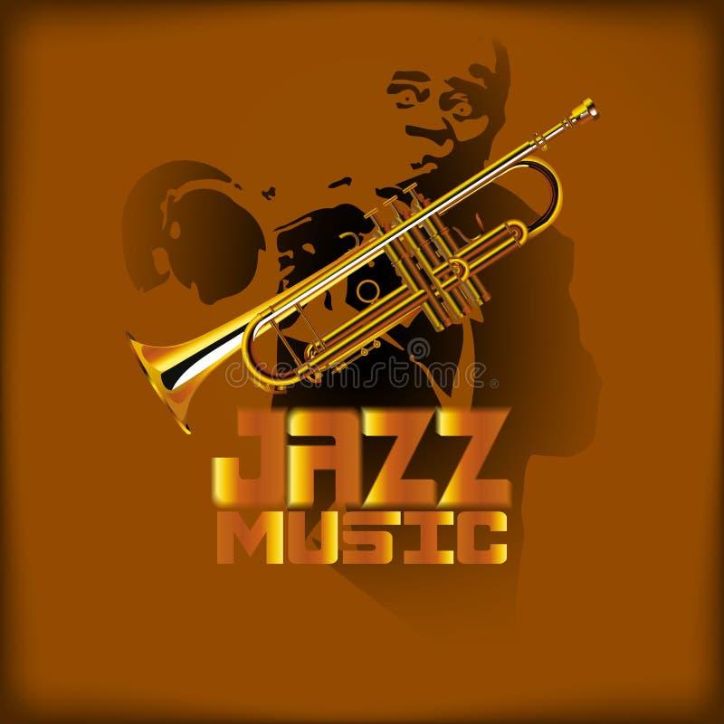 Jazz music and trumpet. Vector illustration of music with jazz trumpet and trumpet player vector illustration