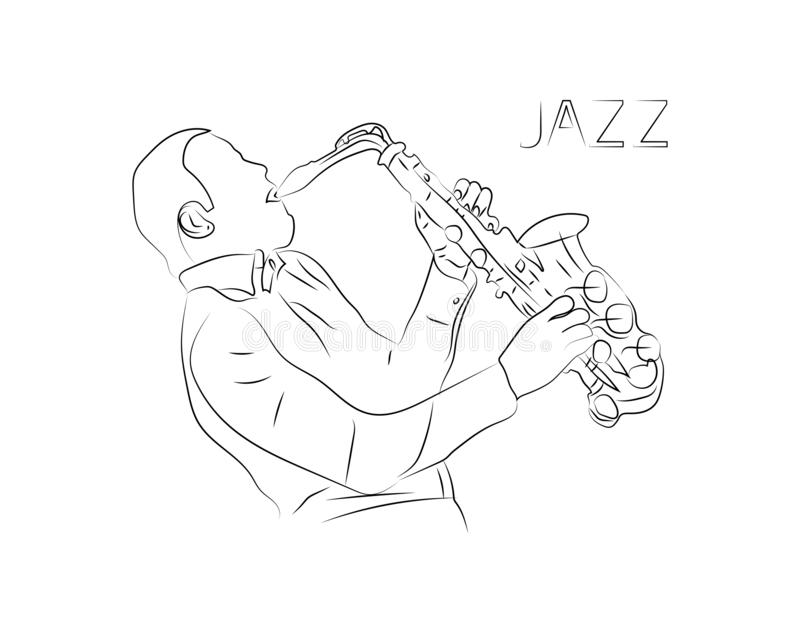 Jazz music vector theme of a musical jazz player with saxophone. One single line art drawing style with minimalistic design. Jazz vector illustration