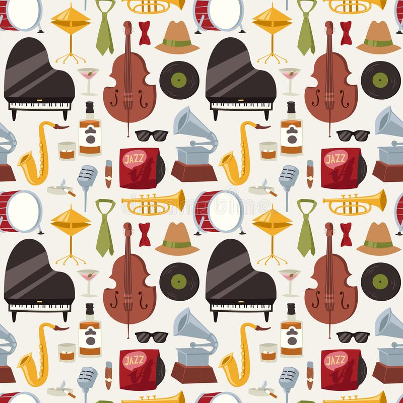 Jazz musical instruments jazzband music seamless pattern background vector vector illustration
