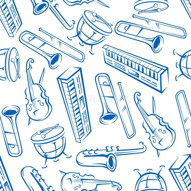 Jazz musical instruments seamless pattern royalty free illustration
