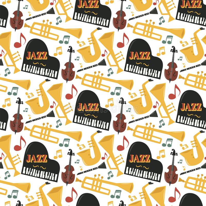 Jazz musical instruments tools background jazzband piano saxophone music seamless pattern sound vector illustration rock vector illustration