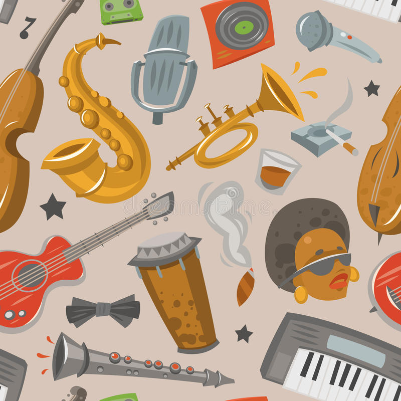 Jazz musical instruments tools jazzband music seamless pattern background vector illustration royalty free illustration