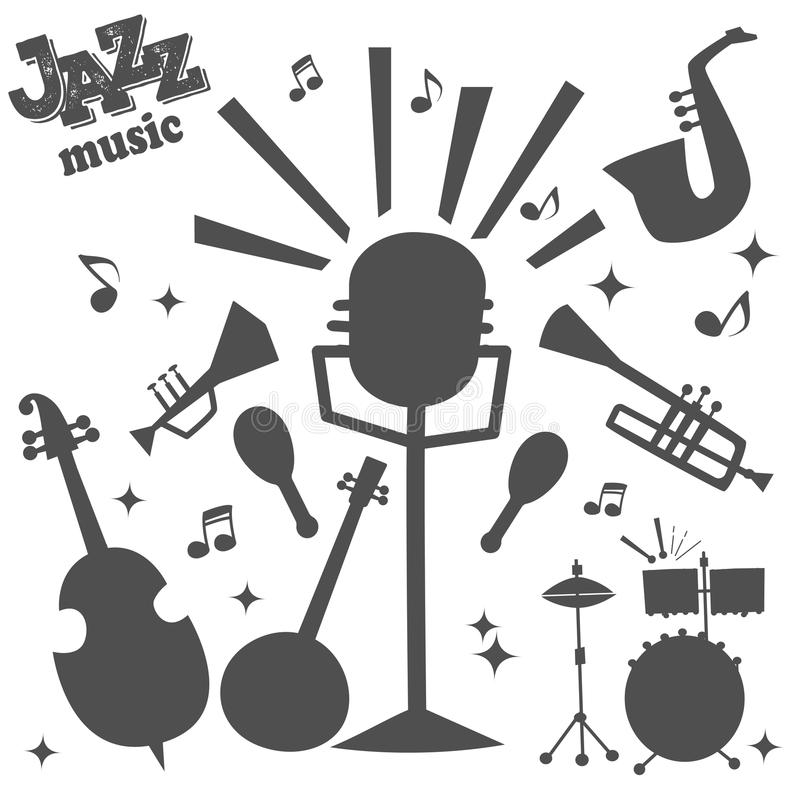Jazz musical instruments tools silhouette icons jazzband piano saxophone music sound vector illustration rock concert royalty free illustration