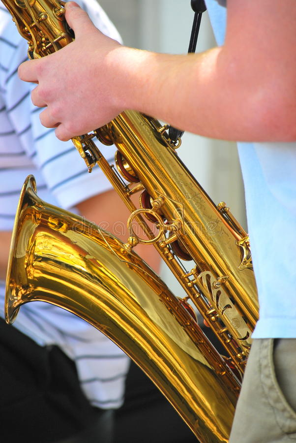 Jazz musician. Performing in concert outdoors royalty free stock photos