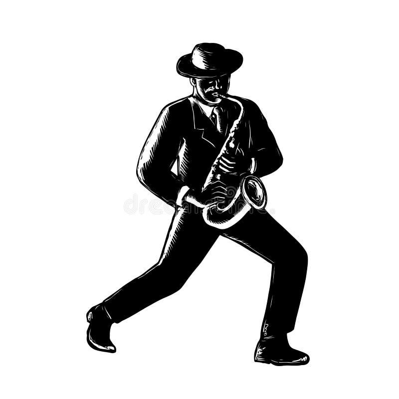 Jazz Musician Playing Sax Woodcut ilustração stock