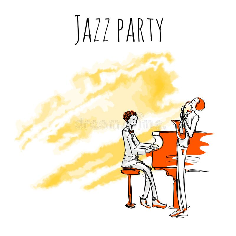 Jazz musicians play sax and piano on a watrecolor background. Vector jazz party poster template with copy space. stock illustration