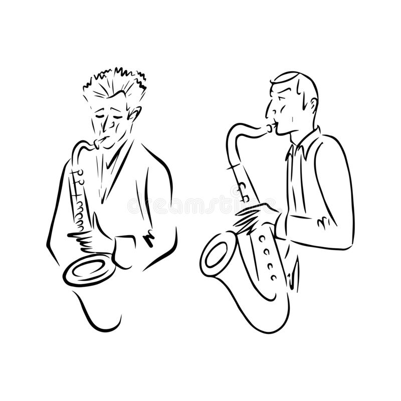 Jazz musicians playing music. Saxophone players sketch. vector illustration