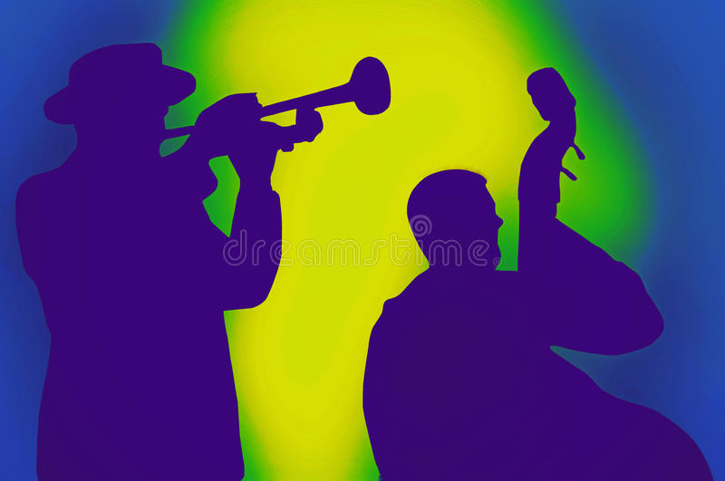 Jazz musicians. Silhouette of jazz musicians,with colorful background stock images