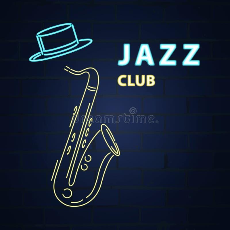 Jazz Neon saxophone De club van het jazzneon Duif als symbool van liefde, pease vector illustratie