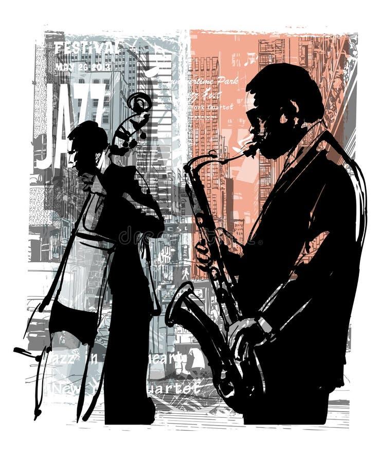 jazz New York royaltyfri illustrationer