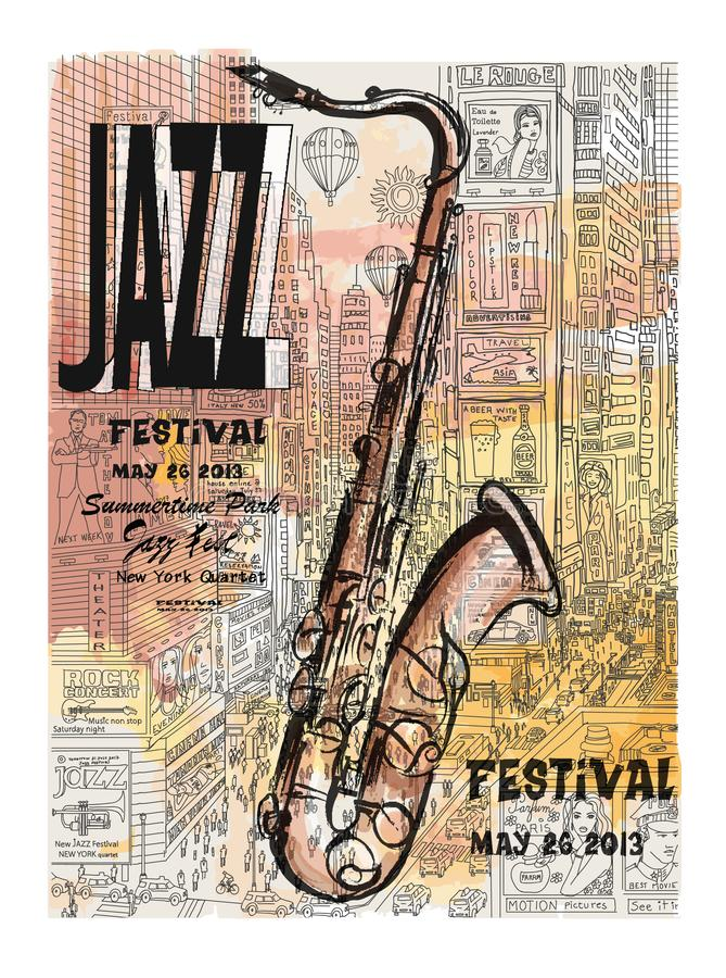 Jazz in New York, poster stock illustration
