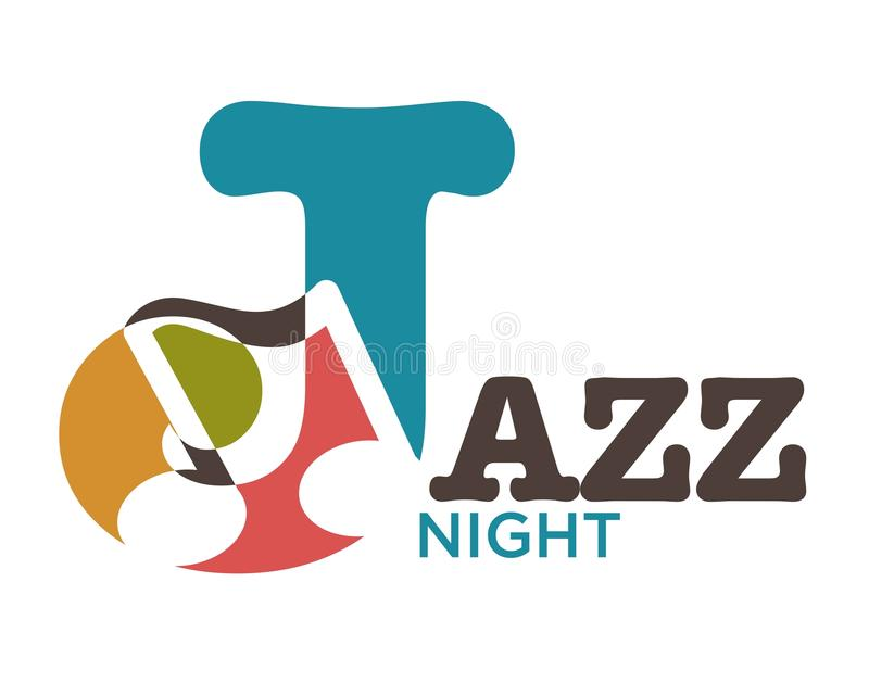 Jazz night musical art vector poster. Jazz night musical art poster. Vector J letter logo in musical note symbols for jazz band concert or saxophone music party royalty free illustration