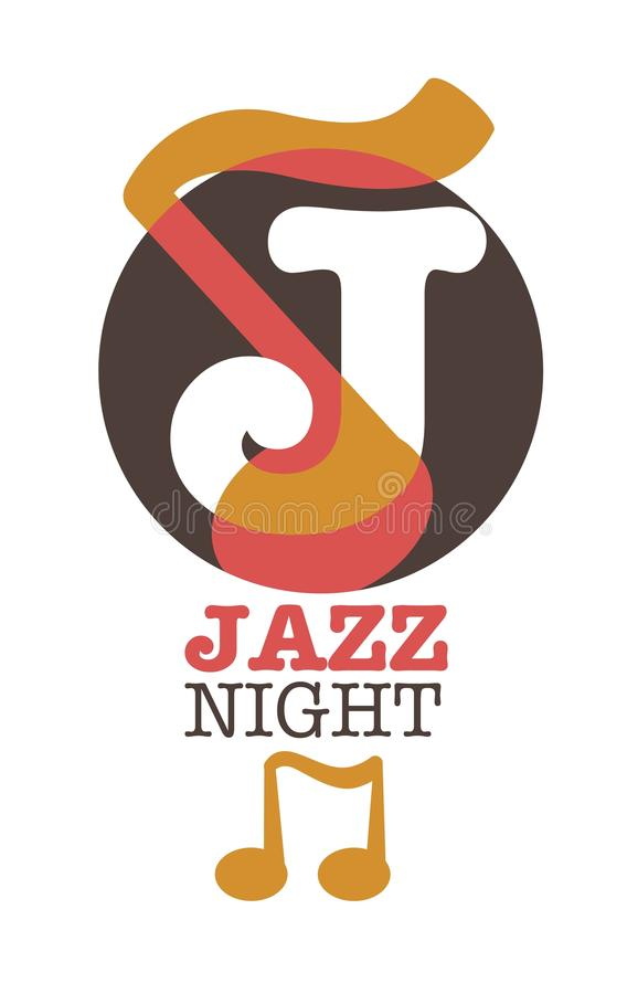 Jazz night musical poster or icon vector template of J letter and musicl note. Jazz night musical art poster vector template. J letter and musical note isolated vector illustration