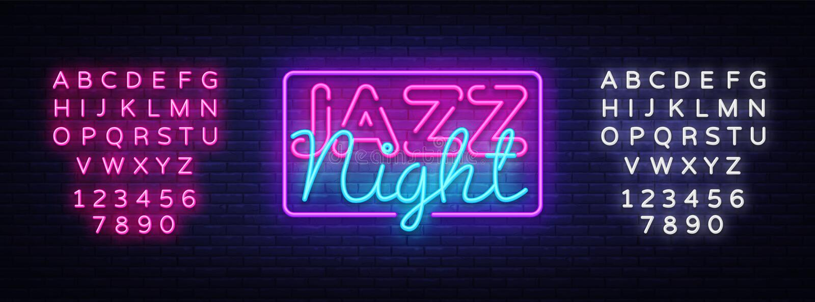 Jazz Night neon sign vector. Jazz Music design template neon sign, light banner, neon signboard, nightly bright. Advertising. Vector illustration. Editing text royalty free illustration