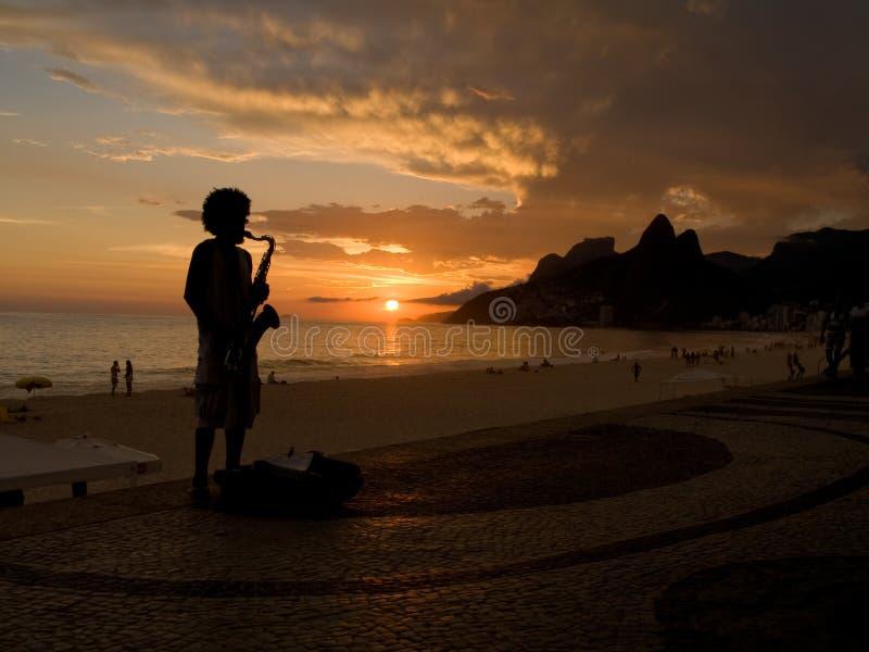 Jazz op Strand Ipanema royalty-vrije stock foto