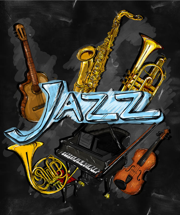 Jazz Painting Instrument Musical Background Ginting