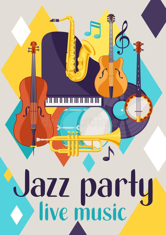 Jazz party live music retro poster with musical instruments stock illustration