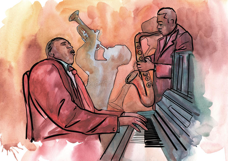 Jazz pianist, saxophonist and trumpeter royalty free illustration
