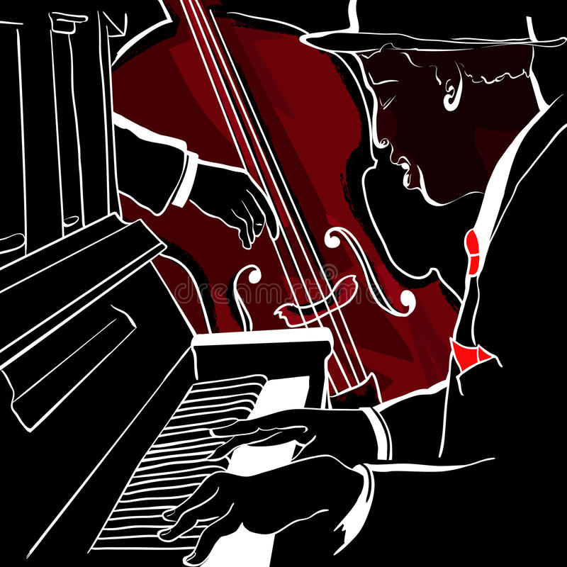 Jazz piano and double-bass royalty free illustration