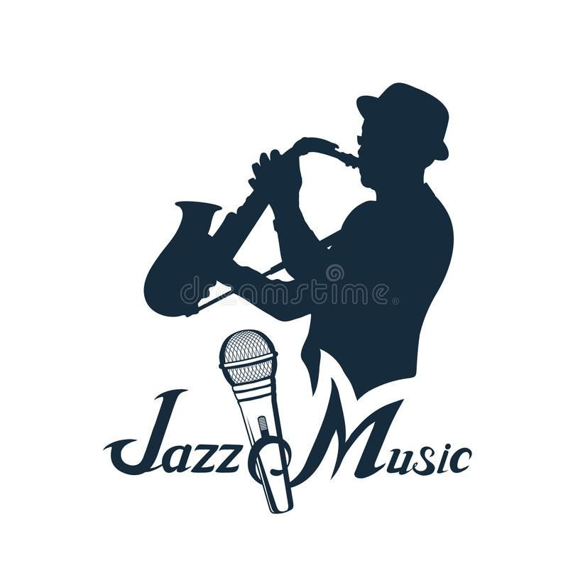 Jazz player with saxophone. Saxophone player. stock illustration