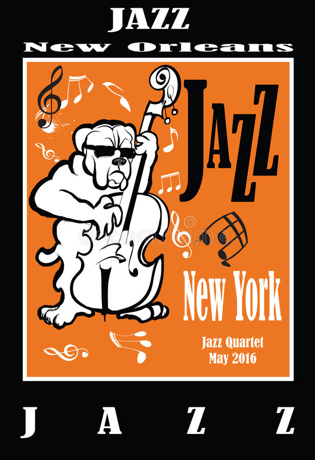 Jazz poster with double bass stock illustration