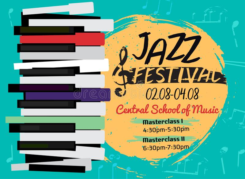 Jazz poster image. Retro jazz festival poster with a piano keyboard in bright colors. Editable vector illustration. Landscape image in a modern style useful for stock illustration