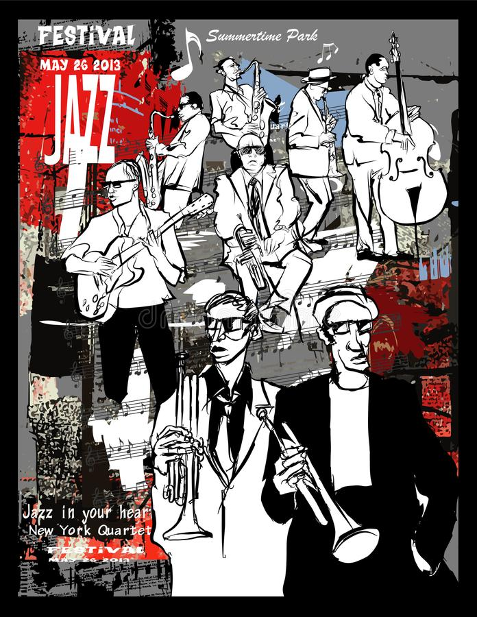 Jazz poster, musicians on a grunge background stock illustration